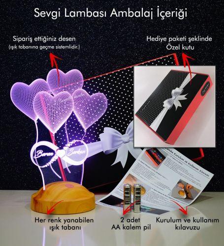 Kişiye Özel 3 Boyutlu Balon Kalpler ve Sonsuzluk Led Lamba