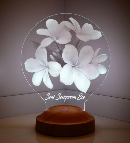 Kişiye Özel 3 Boyutlu Beyaz Plumeria Çiçeği Led Lamba