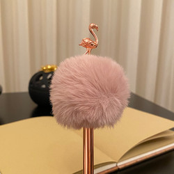 Kişiye Özel Flamingo Bronz Ponponlu Kalem - Thumbnail