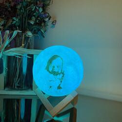 Kişiye Özel Fotoğraf Baskılı 3d Şarjlı Ay Lambası - Thumbnail