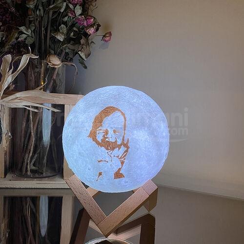 Kişiye Özel Fotoğraf Baskılı 3d Şarjlı Ay Lambası