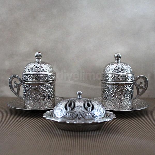 Kişiye Özel Lüks Gümüş 2'li Kahve Takımı