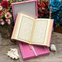 Kişiye Özel Pembe Kadife Kutulu Çanta Boy Kur'an-ı Kerim - Thumbnail