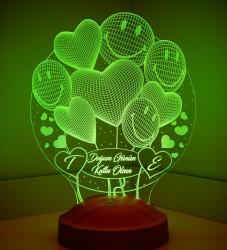 Kişiye Özel Smiley Kalpler Küre 3D Led Lamba - Thumbnail