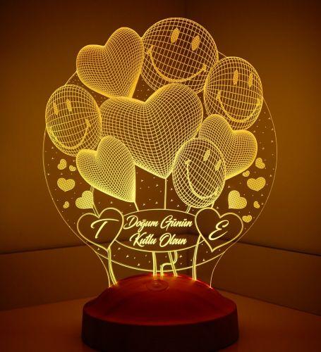 Kişiye Özel Smiley Kalpler Küre 3D Led Lamba