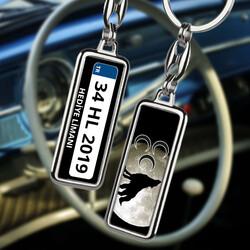 Kişiye Özel Üç Hilal ve Bozkurt Tasarımlı Araba Plakalı Anahtarlık - Thumbnail
