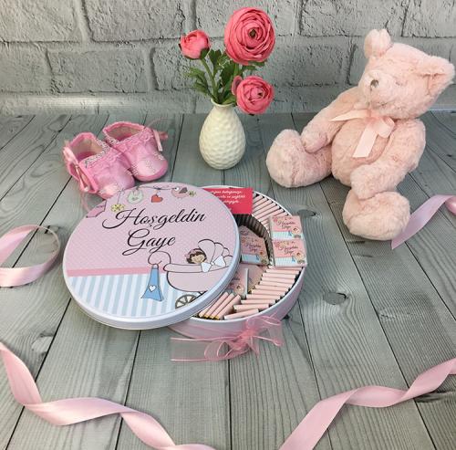 Kız Bebek Çikolatası - Puset (Metal Kutu,100 Ad. Çikolatalı)