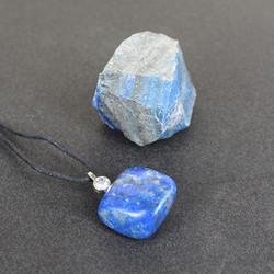 Lapis Lazuli Doğal Taş ve Doğal İşlenmiş Kolye - Thumbnail