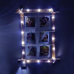 Mandallı Led Işıklı Ahşap Fotoğraf Çerçevesi - Thumbnail