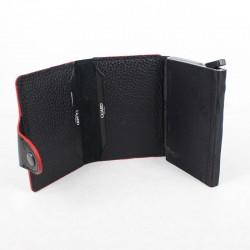 Mekanizmalı Deri Kartlık Siyah Kırmızı - Thumbnail