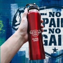 No Pain No Gain Logolu 750 Ml Kırmızı Matara - Thumbnail