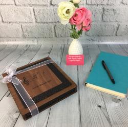 Öğretmene Hediye Notalı Ahşap Kutuda Çikolata - Thumbnail