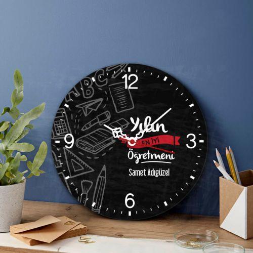 Öğretmene Özel Tasarımlı Cam Duvar Saati 27 Cm