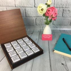 Öğretmenler Günü Hediyesi Ahşap Kutuda Çikolata - Thumbnail