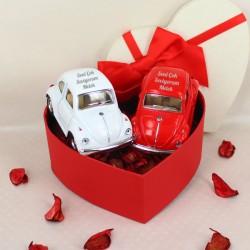 Orijinal Mini Vosvos 2'li Kırmızı Beyaz - Thumbnail