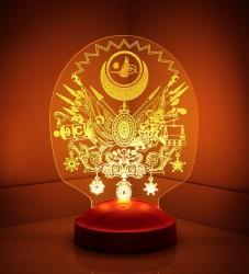 Osmanlı Tuğrası 3D Led Lamba - Thumbnail