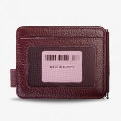 Para Mandallı Deri Kartlık Bordo İsme Özel Kalem Hediyeli - Thumbnail