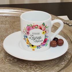 Renkli Çiçek Tasarımlı Kişiye Özel 6 lı Türk Kahve Fincan Takımı - Thumbnail