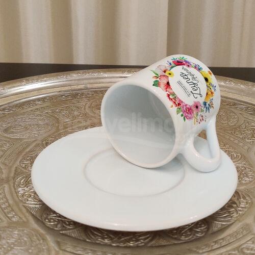 Renkli Çiçek Tasarımlı Kişiye Özel 6 lı Türk Kahve Fincan Takımı
