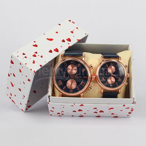 Sevgili Çift Saatleri Hasır Metal Kordon Gold