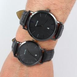 Sevgili Çift Saatleri Takvimli Siyah Kordonlu - Thumbnail