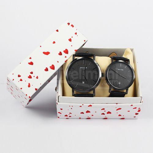 Sevgili Çift Saatleri Takvimli Siyah Kordonlu