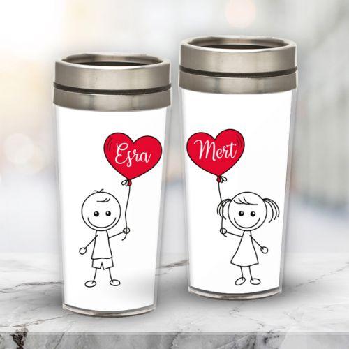 Sevgililer Günü Hediyesi Mutlu Çift Termos