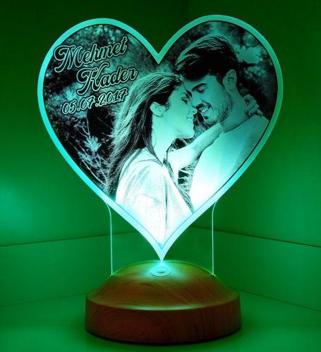 Sevgililere Özel 3 Boyutlu Kalp Led Lamba