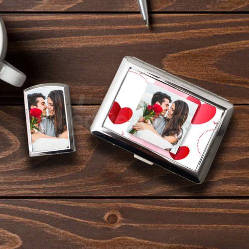 Sevgiliye Hediye Fotoğraf Baskılı Sigara Tabakası Çakmak Seti