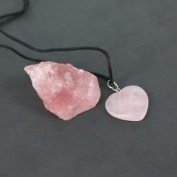 Sevgiliye Hediye Kalp Tasarım Kolye ve Gül Kuvars Doğaltaş - Thumbnail