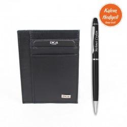 Siyah Deri Diga Kartlık Kişiye Özel Kalem Hediyeli - Thumbnail