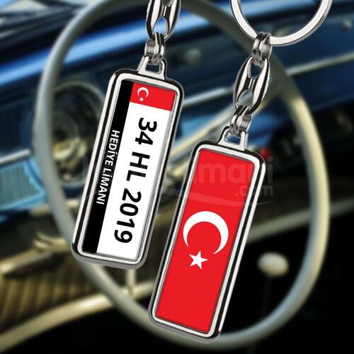 Türk Bayraklı Araba Plakalı Kişiye Özel Anahtarlık